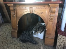 Victorian timber arch mantel, carved corbels, top shelf width 1570mm, height 1260mm, $485 $485