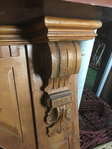 Victorian timber arch mantel, carved corbels, top shelf width 1570mm $485