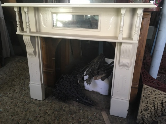 Edwardian double shelf fireplace mantel with turnings, mirror, N.B. back corners of top shelf have been cut. width 1485 x height 1275mm $300 ON HOLD surround Edwardian double shelf fireplace mantel with turnings, mirror, N.B. back corners of top shelf have been cut. w 1485 x 1275mm $300