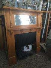 Double shelf timber mantel, original, bevel mirror, top shelf w1570 x h1600mm, $450