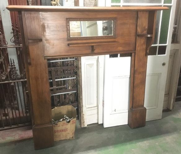 Original timber fireplace mantel/surround, bevel mirror top shelf width 1425mm $330