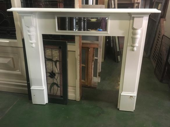 Tall oak fireplace mantel/surround h 1885 x w 1475mm, $330