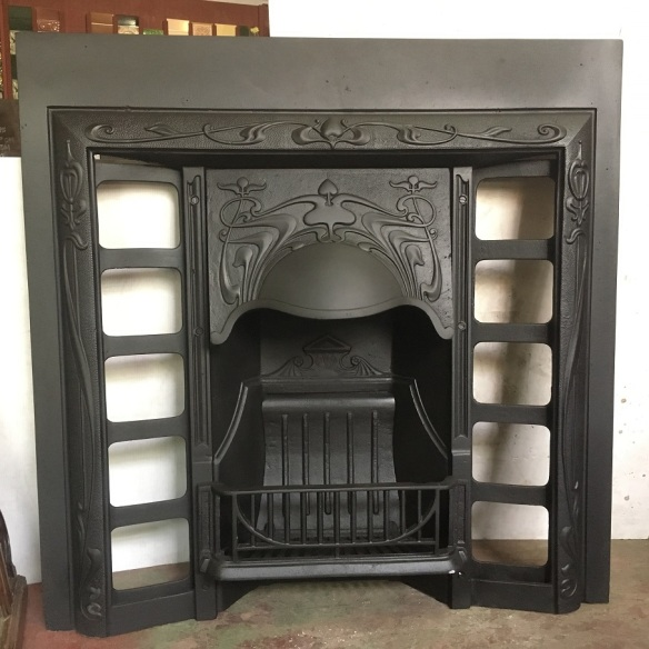 Original Art Nouveau era G and K foundry, cast iron fireplace insert, fully restored 965 x 965mm $550 wood burner, open fire salvaged, recycled, demolition, reproduction, restoration, renovation,collectable, secondhand, used , original, old, reclaimed, heritage, antique, victorian, edwardian, georgian, art deco