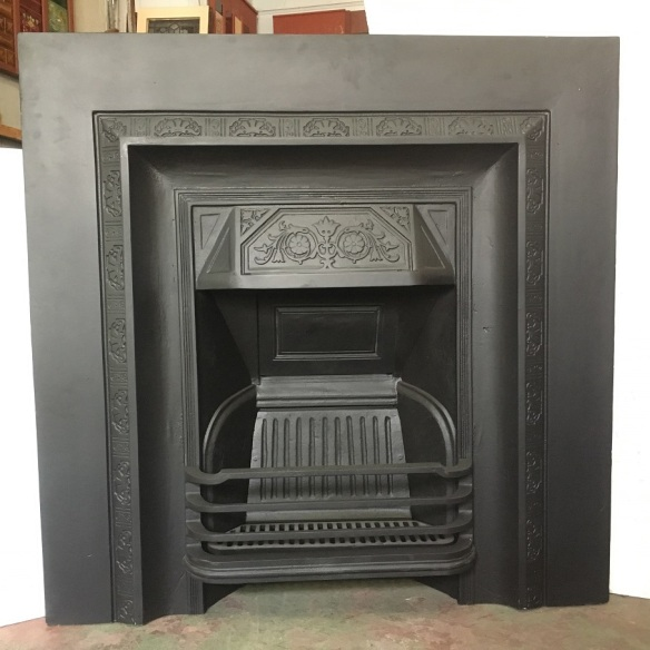 Original No.50 cast iron fireplace insert, rectangular patterned frame, without tile panels, fully restored, 965 x 965mm, $550 salvaged, recycled, demolition, reproduction, restoration, renovation,collectable, secondhand, used , original, old, reclaimed, heritage, antique, victorian, edwardian, georgian, art deco wood burner, open fire
