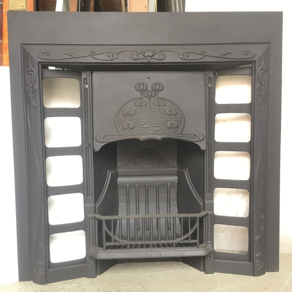 Original Art Nouveau era G and K foundry, cast iron fireplace insert, fully restored 965 x 965mm $550 salvaged, recycled, demolition, reproduction, restoration, renovation,collectable, secondhand, used , original, old, reclaimed, heritage, antique, victorian, edwardian, georgian, art deco wood burner, open fire