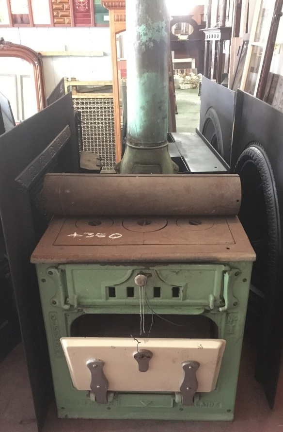 Original Gifforn Simpson wood stove made in Adelaide, green enamel, needs minor repair, width 600 x height 650 x depth 500mm, $350 salvaged, recycled, demolition, reproduction, restoration, renovation,collectable, secondhand, used , original, old, reclaimed, heritage, antique, victorian, edwardian, georgian, art deco wood burner, open fire