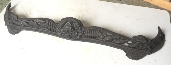 salvaged, recycled, demolition, reproduction, restoration, renovation,collectable, secondhand, used , original, old, reclaimed, heritage, antique, victorian, art nouveau edwardian, georgian, art deco Cast iron fireplace fender / curb, detailed casting, fern leaves, restored, 1105 x 235mm, $220