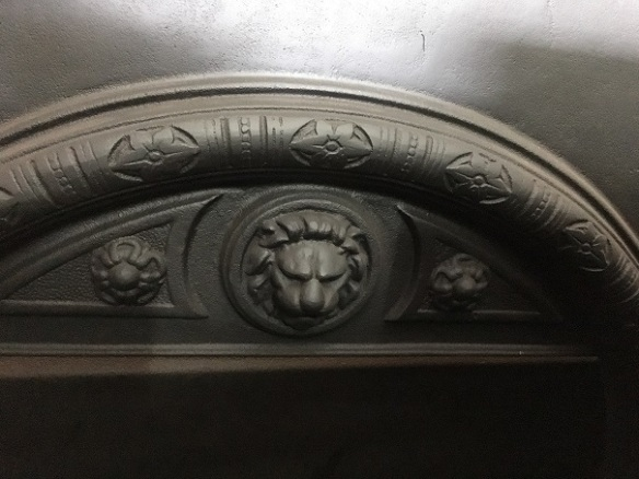 Lion head cast detail in the fascia - Jetmaster 750D convection box, wood burner, barely used. Burning box dimensions depth 410 x width 755 x height 650mm; fascia dimensions width 980 x height 960mm. $800 salvaged, recycled, demolition, reproduction, restoration, renovation,collectable, secondhand, used , original, old, reclaimed, heritage, antique, victorian, edwardian, georgian, art deco wood burner, open fire