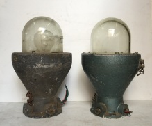 SAE vintage waterproof, flameproof lights, glass domes, diam approx 215 x height 370mm, $145 each