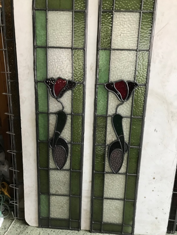 Leadlight panels with , mauve , reds and green glass , , 1130 mm x 230 mm , $ 210 each , 2 available salvage recycled demolition, reproduction restoration, renovation, collectable, secondhand, used, original, old, reclaimed heritage, antique restored stained glass
