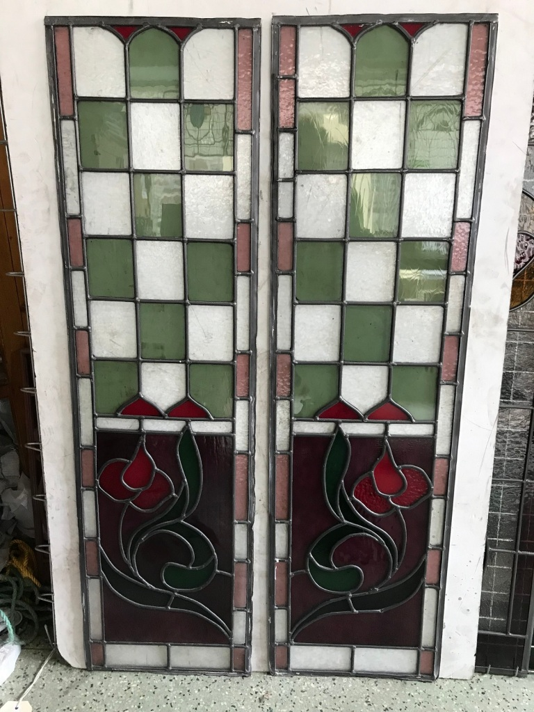 Leadlight panels, with checker board design , green , red and pink/purple glass 1075 mm x 305 mm, $ 285 each , 2 available salvage recycled demolition, reproduction restoration, renovation, collectable, secondhand, used, original, old, reclaimed heritage, antique restored stained glass