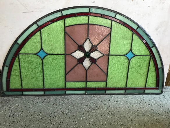 Arched leadlight panel, with , green , blue , red and mauve glass 1190 mm x 615 mm , $385 salvage recycled demolition, reproduction restoration, renovation, collectable, secondhand, used, original, old, reclaimed heritage, antique restored stained glass