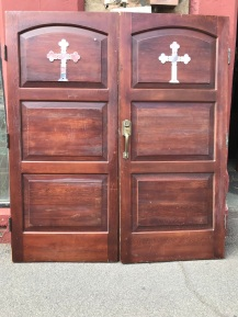 salvaged, recycled, demolition, reproduction, restoration, renovation,collectable, secondhand, used , original, old, reclaimed, heritage, antique, victorian, edwardian, georgian, deco Large pair of church doors , red pine with chrome cross on each door, 2070 mm wide x 2330 mm tall, $ 1200