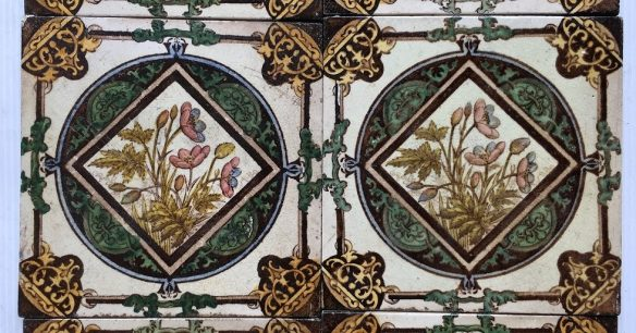 Detail of late Victorian/19th century set of 10 fireplace tiles, transfer print and hand painted, $400 OTB can separate tiles in sets of two