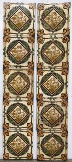 Late Victorian/19th century set of 10 fireplace tiles, transfer print and hand painted, $400 OTB can separate tiles in sets of two