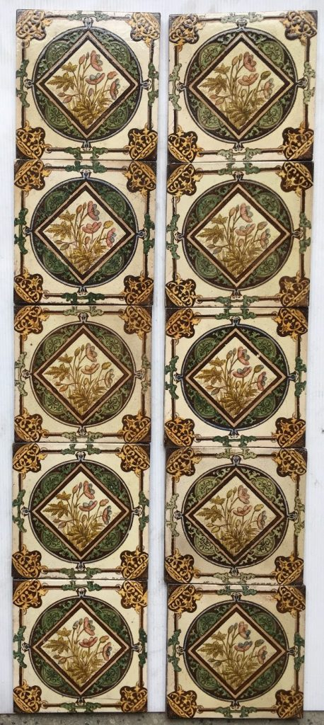 Late Victorian/19th century set of 10 fireplace tiles, transfer print and hand painted, $400 OTB
