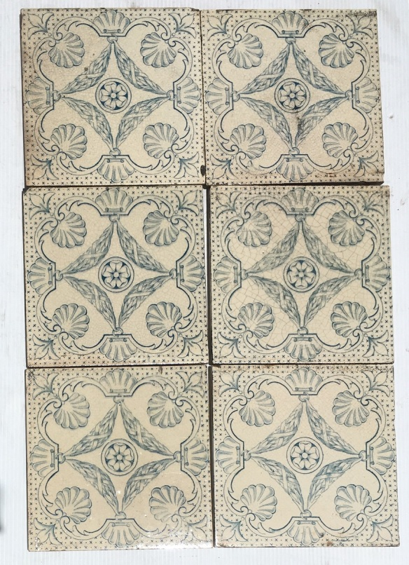 salvaged recycled demolition, reproduction, restoration, renovation,collectable, secondhand, used , original, old, reclaimed, heritage, antique, victorian, edwardian, georgian art nouveau ceramic arts and crafts decorative aesthetic , antique, victorian, edwardian, georgian,Sherwin and Cotton c1890-1911 fireplace tiles, set of 6 blue transfer print on off white background. $210 set 121