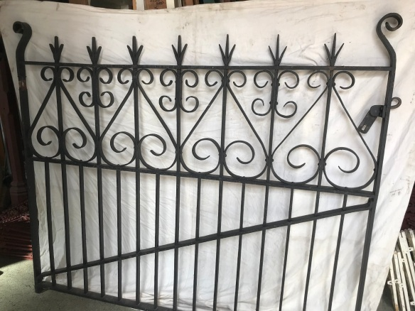 salvaged, recycled, demolition, reproduction, restoration, renovation,collectable, secondhand, used , original, old, reclaimed, heritage, antique, victorian, edwardian, georgian, deco Lovely pair of early blacksmith driveway gates with reproduction cast iron posts, 3610 mm wide, $ 3300 the set