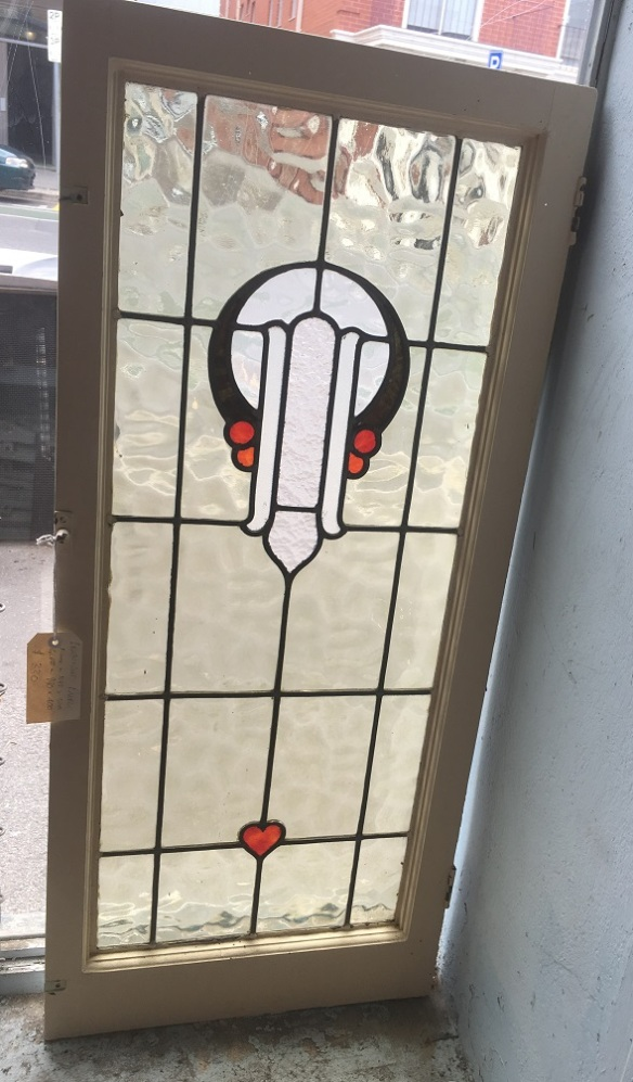Original leadlight sash in frame , frame is 1145 mm x 500 mm , glass is 990 mm x 400 mm , $ 330 salvage recycled demolition, reproduction restoration, renovation, collectable, secondhand, used, original, old, reclaimed heritage, antique restored stained glass