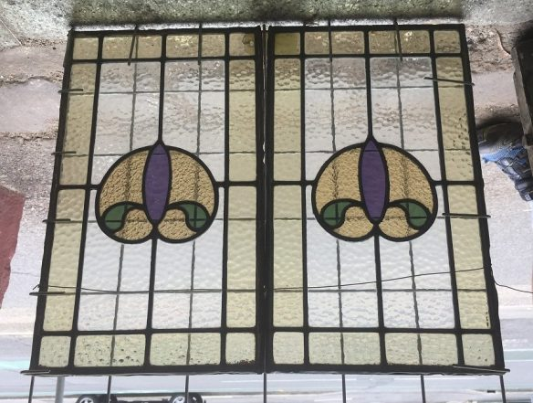 Original leadlight window panels, mid purple stylised flower, green leaves and pale cool brown border etc. 510 mm x 305 mm, 2 available $165 each salvage recycled demolition, reproduction restoration, renovation, collectable, secondhand, used, original, old, reclaimed heritage, antique restored stained glass