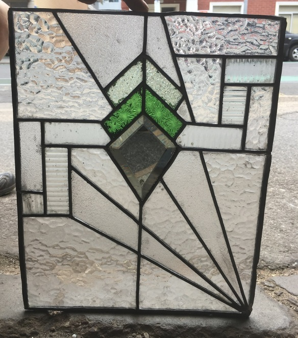 Lead light panel , 420 mm x 340 mm , $ 145 salvage recycled demolition, reproduction restoration, renovation, collectable, secondhand, used, original, old, reclaimed heritage, antique restored stained glass