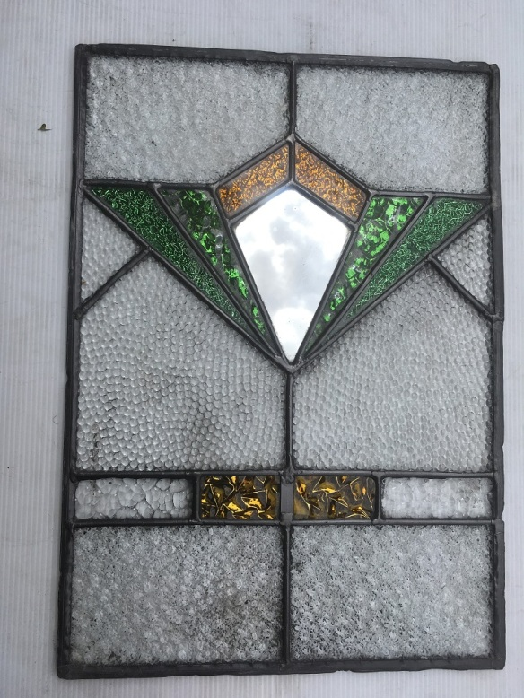 3 lead light panels , originally from a kitchen dresser , 435 mm x 310 mm , $ 145 each panel salvage recycled demolition, reproduction restoration, renovation, collectable, secondhand, used, original, old, reclaimed heritage, antique restored stained glass