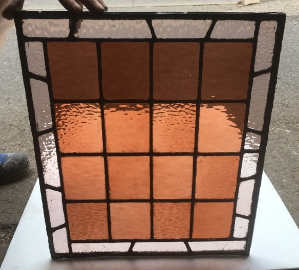 Small lead light panel , 385 mm x 460 mm , $ 95 salvage recycled demolition, reproduction restoration, renovation, collectable, secondhand, used, original, old, reclaimed heritage, antique restored stained glass