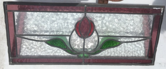 original lead light panel , 645 mm x 280 mm , $ 125 salvage recycled demolition, reproduction restoration, renovation, collectable, secondhand, used, original, old, reclaimed heritage, antique restored stained glass