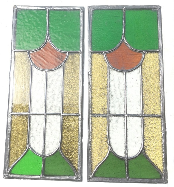 original lead light panels , 505 mm x 215 mm , $ 165 each salvage recycled demolition, reproduction restoration, renovation, collectable, secondhand, used, original, old, reclaimed heritage, antique restored stained glass
