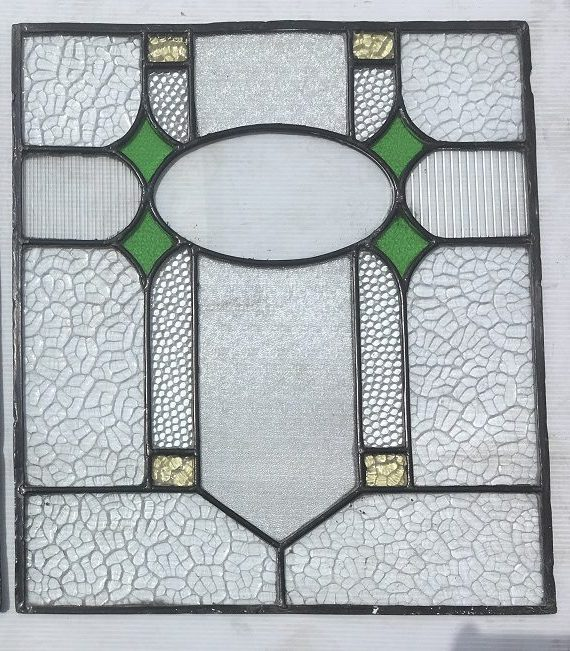 Leadlight window panel, original, mostly clear and rippled glass with green diamonds, 360mm x 410mm, $145 m , $145 each salvage recycled demolition, reproduction restoration, renovation, collectable, secondhand, used, original, old, reclaimed heritage, antique restored stained glass