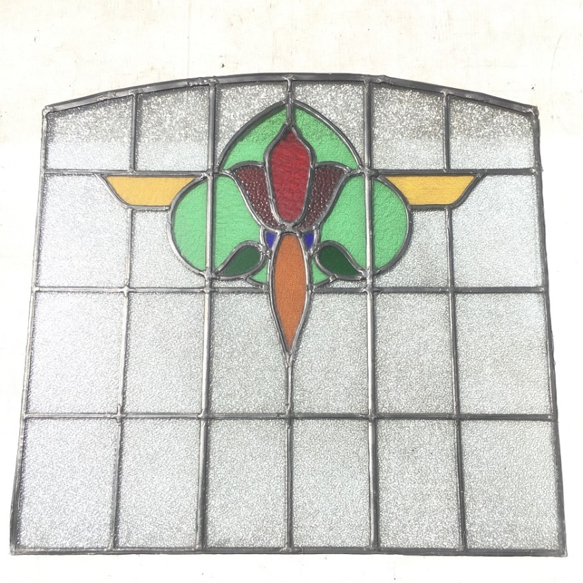 salvageCentral panel of three recycled demolition, reproduction restoration, renovation, collectable, secondhand, used, original, old, reclaimed heritage, antique restored stained glass