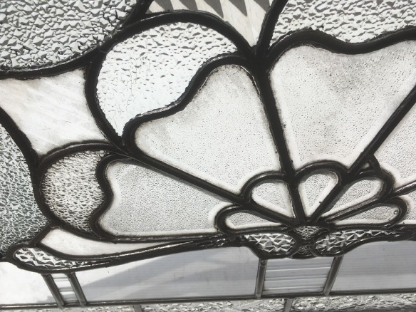 (detail)Fan shaped design, leadlight window, variety of clear textured glass, original, w 818 x h 606mm $440 salvage recycled demolition, reproduction restoration, renovation, collectable, secondhand, used, original, old, reclaimed heritage, antique restored stained glass