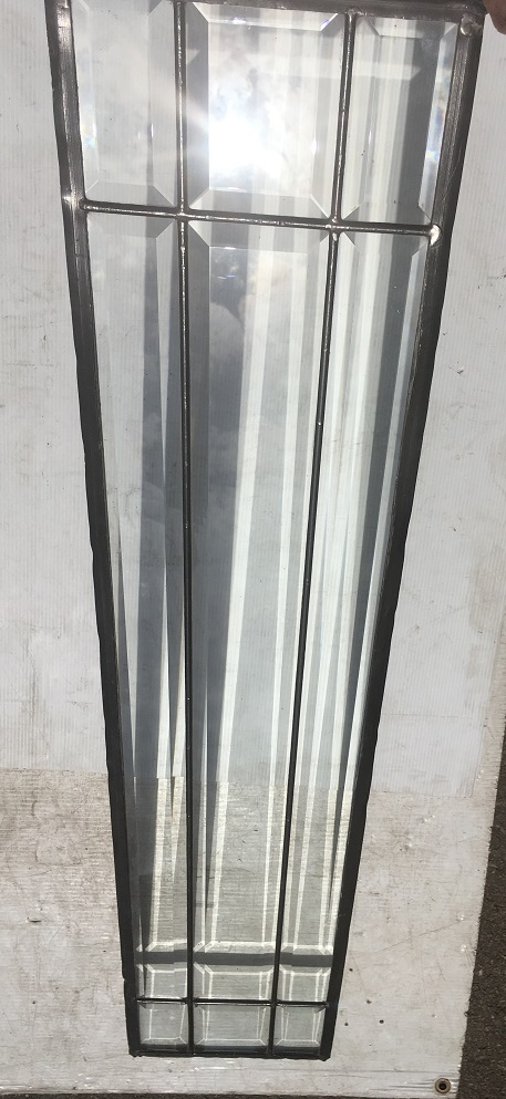 detail of clear bevel cut glass leadlight window panel w 223 x h 1040mm $220 salvage recycled demolition, reproduction restoration, renovation, collectable, secondhand, used, original, old, reclaimed heritage, antique restored stained glass