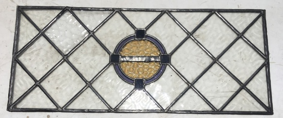 salvaged, recycled, demolition, reproduction, restoration, renovation,collectable, secondhand, used , original, old, reclaimed, heritage, antique, victorian, art nouveau edwardian, georgian, art deco Leadlight window panel with circular coloured centre in warm yellow, pale blue and deep blue, 880 mm x 380 mm , $180