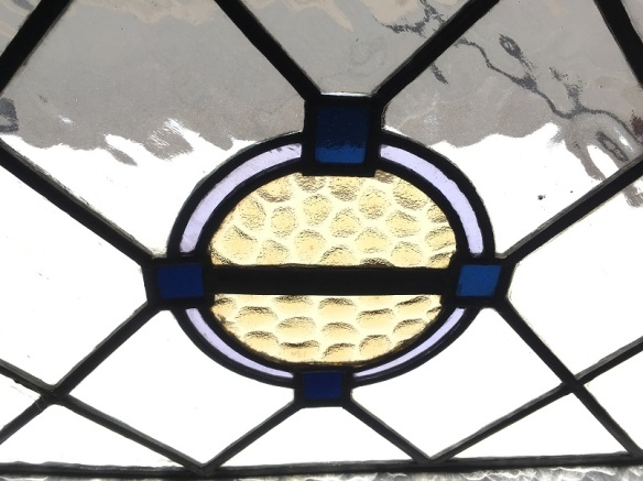 Leadlight window panel with circular coloured centre in warm yellow, pale blue and deep blue, 880 mm x 380 mm , $180 salvage recycled demolition, reproduction restoration, renovation, collectable, secondhand, used, original, old, reclaimed heritage, antique restored stained glass