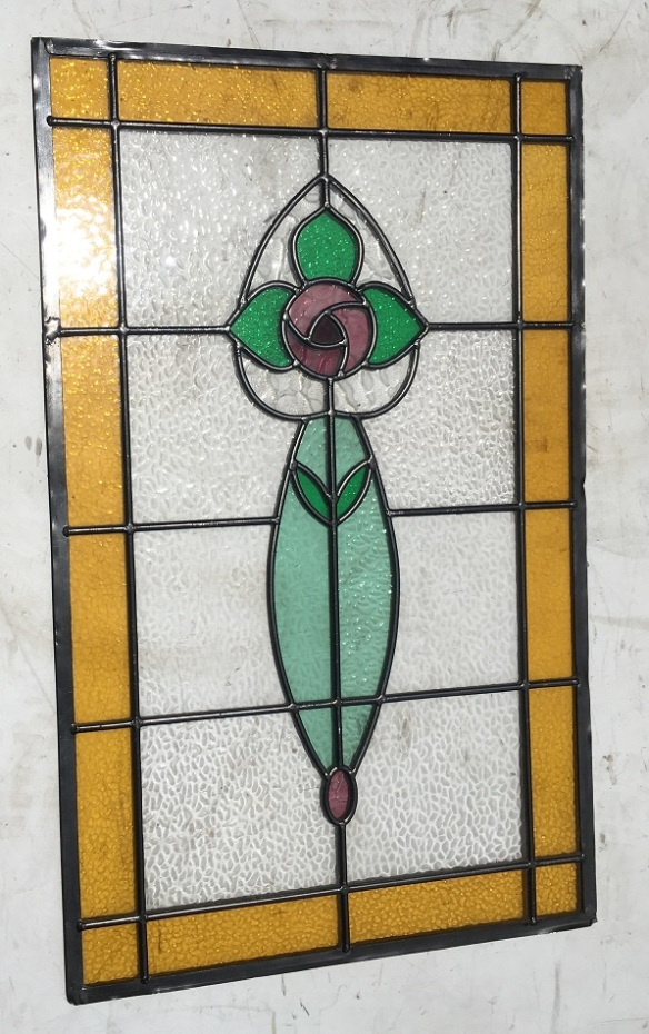 colourful leadlight window panel, stylised rose and leaves, pinks, greens and warm yellow border, 775 mm x 482 mm , $ 345 salvage recycled demolition, reproduction restoration, renovation, collectable, secondhand, used, original, old, reclaimed heritage, antique restored stained glass