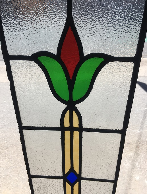 Detail of original leadlight panel, stylised flower with red, green, yellow and blue glass, 220 mm x 1060 mm, $245 salvage recycled demolition, reproduction restoration, renovation, collectable, secondhand, used, original, old, reclaimed heritage, antique restored stained glass