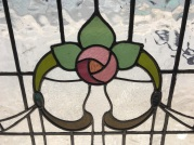 Detail of large leadlight window panel, stylised rose and greenery, 885 mm x 805 mm, $485 salvage recycled demolition, reproduction restoration, renovation, collectable, secondhand, used, original, old, reclaimed heritage, antique restored stained glass