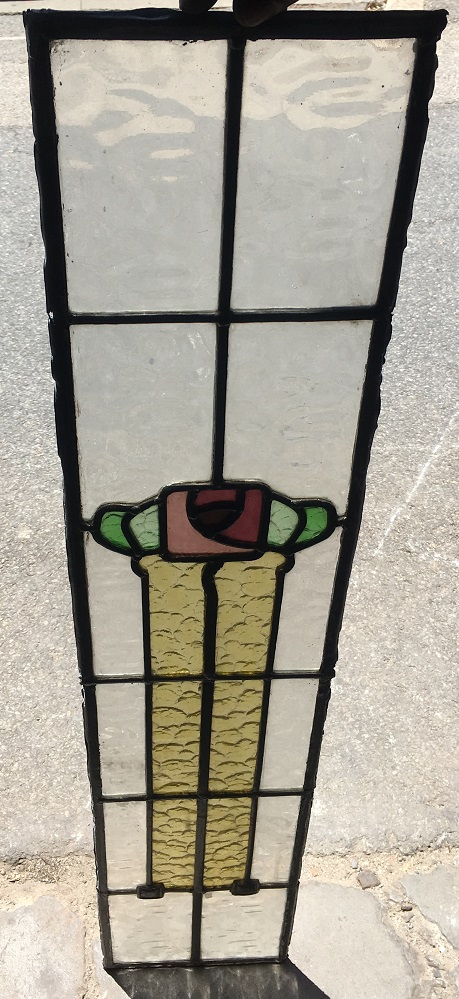 Long narrow, original, leadlight window panel, stylised flower and leaves 1020 mm x 200 mm, $175 salvage recycled demolition, reproduction restoration, renovation, collectable, secondhand, used, original, old, reclaimed heritage, antique restored stained glass