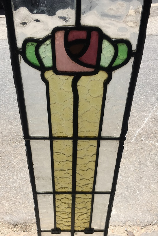 Detail of Long narrow, original, leadlight window panel, stylised flower and leaves 1020 mm x 200 mm, $175 salvage recycled demolition, reproduction restoration, renovation, collectable, secondhand, used, original, old, reclaimed heritage, antique restored stained glass