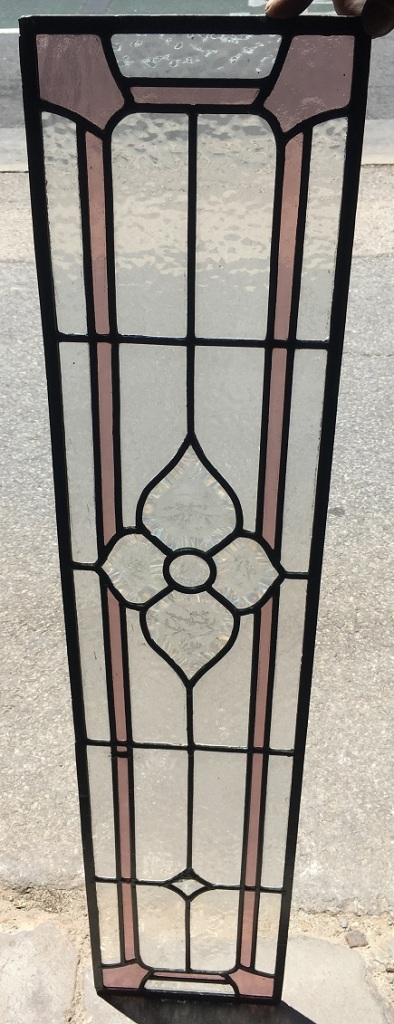 Detail of Lead light panel, with cut glass features and a pink border , 217 mm x 990 mm , $ 185 salvage recycled demolition, reproduction restoration, renovation, collectable, secondhand, used, original, old, reclaimed heritage, antique restored stained glass