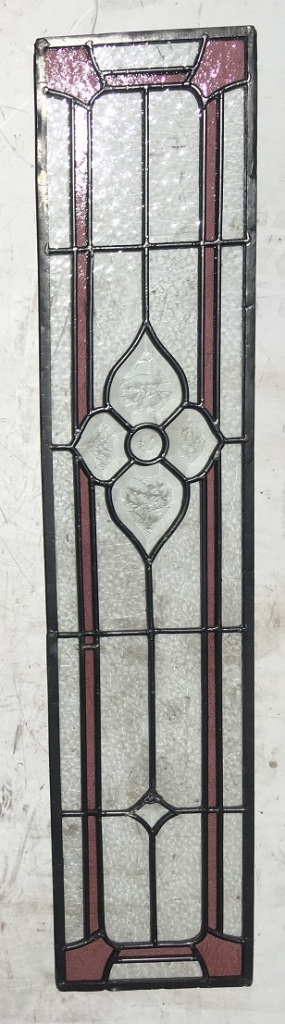 Lead light panel, with cut glass features and a pink border , 217 mm x 990 mm , $ 185 salvage recycled demolition, reproduction restoration, renovation, collectable, secondhand, used, original, old, reclaimed heritage, antique restored stained glass