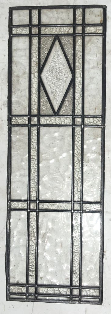 leadlight window panel, all clear textured glass with diamond detail, 960 mm x 320 mm , $220 recycled demolition, reproduction restoration, renovation, collectable, secondhand, used, original, old, reclaimed heritage, antique restored stained glass