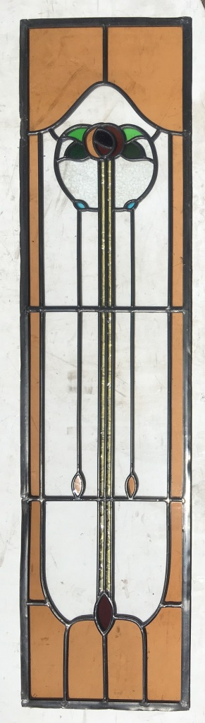 Art Nouveau floral motif leadlight window panels , 260 mm x 1045 mm , 3 available $165 each salvage recycled demolition, reproduction restoration, renovation, collectable, secondhand, used, original, old, reclaimed heritage, antique restored stained glass