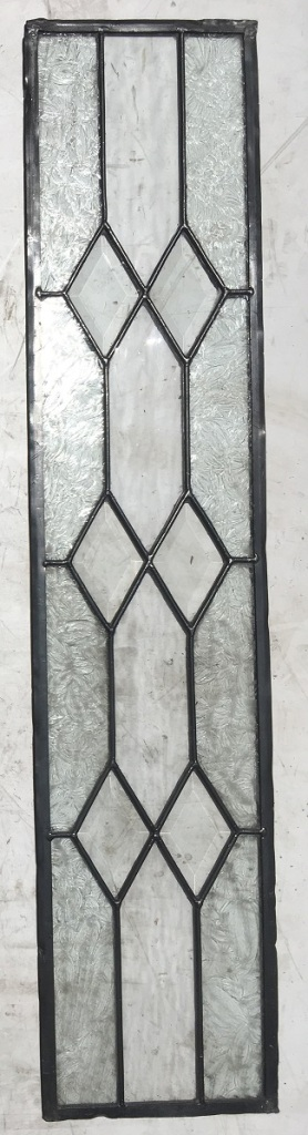 Clear and textured glass leadlight window panel with bevelled glass diamonds, 225 mm x 1050 mm , $160 salvage recycled demolition, reproduction restoration, renovation, collectable, secondhand, used, original, old, reclaimed heritage, antique restored stained glass