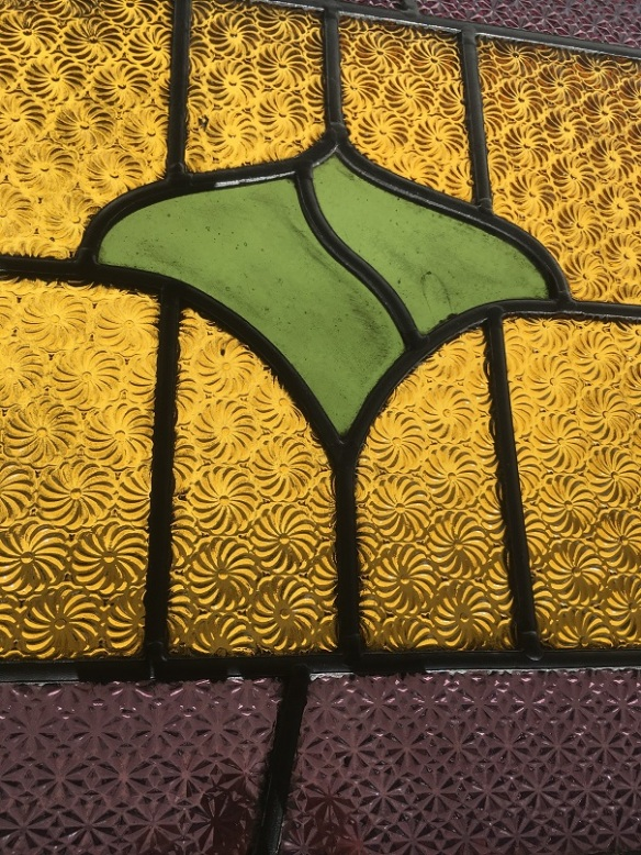 salvaged, recycled, demolition, reproduction, restoration, renovation,collectable, secondhand, used , original, old, reclaimed, heritage, antique, victorian, art nouveau edwardian, georgian, art deco Detail of early Victorian leadlight panel, textured mauve border with rich yellow and deep green glass, 695 mm x 375 mm, $250