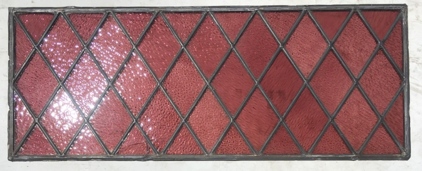 Detail of small pink/mauve diamond panes, 560 mm x 305 mm, 2 available, $145 each salvage recycled demolition, reproduction restoration, renovation, collectable, secondhand, used, original, old, reclaimed heritage, antique restored stained glass