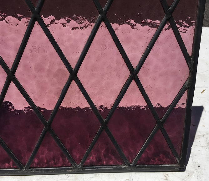 Detail of small pink/mauve diamond panes, 560 mm x 305 mm , $145 each salvage recycled demolition, reproduction restoration, renovation, collectable, secondhand, used, original, old, reclaimed heritage, antique restored stained glass