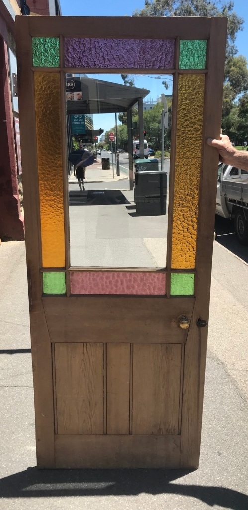 End of passage / Astragal door , with deep yellow, mauve and green coloured glass, clear central pane, 803mm wide x 2010mm tall , $550 salvage recycled demolition, reproduction restoration, renovation, collectable, secondhand, used, original, old, reclaimed heritage, antique restored stained glass