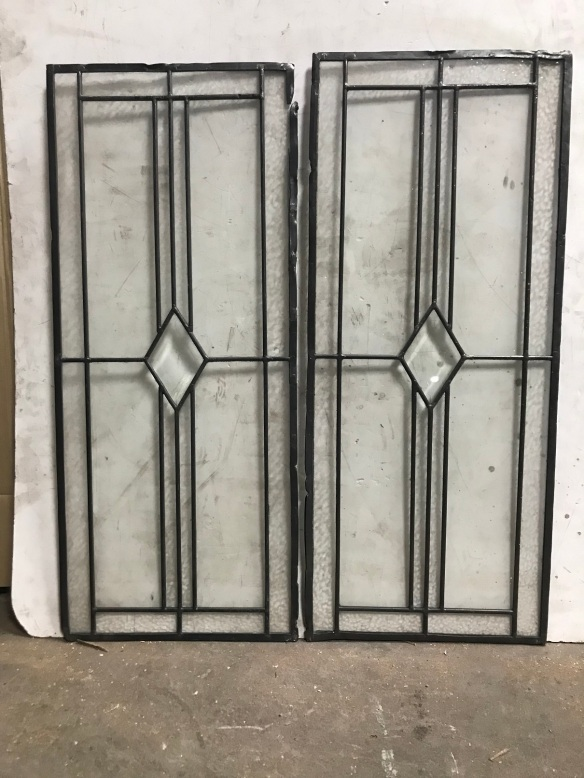 salvaged, recycled, demolition, reproduction, restoration, renovation,collectable, secondhand, used , original, old, reclaimed, heritage, antique, victorian, edwardian, georgian, deco Lead light panels with cut glass diamonds to centre, 725 mm x 305 mm , $ 125 each
